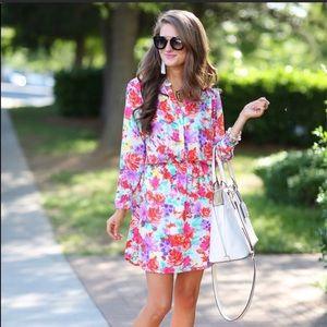 Charles Henri Crepe Floral Shirt Dress
